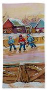 Hockey Game-outdoor Hockey -beautiful Canadian Winter Landscape-hockey Heroes-carole Spandau Bath Towel