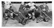 Hockey Goalie Chin Stops Puck Hand Towel