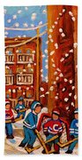Hockey In The Laneway On Snowy Day Paintings Of Montreal Streets In Winter Carole Spandau Bath Towel