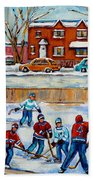 Hockey Rink At Van Horne Montreal Bath Towel