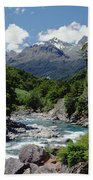 Hollyford River And The Eyre Range Bath Towel
