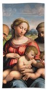 Holy Family With The Infant St. John The Baptist And St. Francis Bath Towel