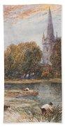 Holy Trinity Church On The Banks If The River Avon Stratford Upon Avon Bath Towel