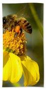 Honeybee Feasting On Nectar Of Yellow Flower Bath Towel
