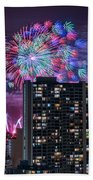 Honolulu Festival Fireworks Bath Towel