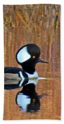 Hooded Merganser At Sunset Bath Towel