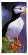 Horned Puffin Hand Towel