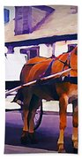 Horse And Carriage In Front Of Lafitte's Blacksmith Shop  Bath Towel