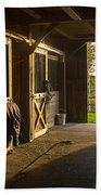 Horse Barn Sunset Bath Towel
