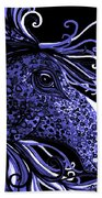 Horse Head Blues Bath Towel