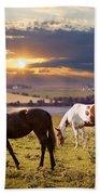 Horses Grazing At Sunset Bath Towel