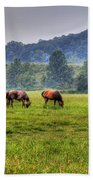 Horses In A Field 2 Hand Towel