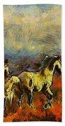 Horses On The Gogh Bath Towel