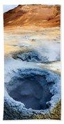 Hot Springs At Namaskard In Iceland Bath Towel