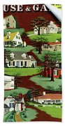 House & Garden Cover Illustration Of 9 Houses Hand Towel