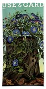 House And Garden Cover Featuring Flowers Growing Hand Towel