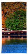 House Boat River Barge In France Bath Towel