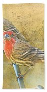 Housefinch Pair With Texture Bath Towel