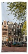 Houses On Singel Canal In Amsterdam Hand Towel