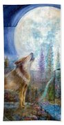 Wolf Howling And Full Moon Bath Towel