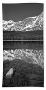 1m3643-bw-howse Peak Mt. Chephren Reflect-bw Bath Towel