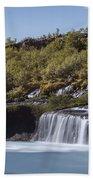 Hraunfossar Iceland 9 Bath Towel