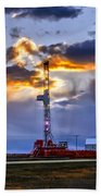 Sunset Over The Oil Rigs Bath Towel