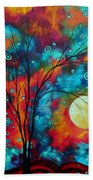 Huge Colorful Abstract Landscape Art Circles Tree Original Painting Delightful By Madart Bath Towel