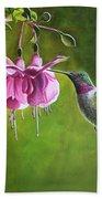 Hummingbird And Fuschia Bath Towel