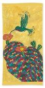 Hummingbird And Prickly Pear Bath Towel