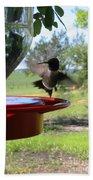 Hummingbird Flying To The Feeder Bath Towel