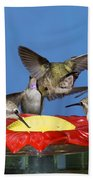 Hummingbirds At Feeder Bath Towel
