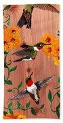 Hummingbirds On Cedar Bath Towel