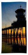 Huntington Beach Pier At Sunset Bath Towel