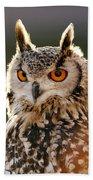 Hypnoteyes  Eurasian Eagle Owl Bath Towel