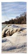 Ice Covered Shores Of Lake Michigan Bath Towel