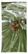 Iced Over Pine Cones Bath Towel