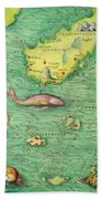 Iceland, From An Atlas Of The World In 33 Maps, Venice, 1st September 1553 Bath Towel