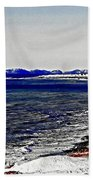 Icy Cold Seascape Digital Painting Bath Towel