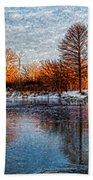 Icy Reflections At Sunrise - Lake Ontario Impressions Bath Towel
