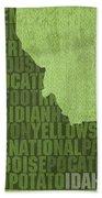 Idaho State Word Art Map On Canvas Bath Towel