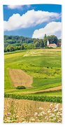Idyllic Agricultural Landscape Panoramic View Bath Towel