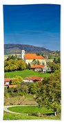 Idyllic Green Nature Of Croatian Village Of Glogovnica Bath Towel