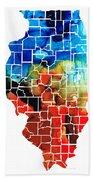 Illinois - Map Counties By Sharon Cummings Bath Towel