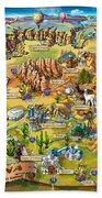 Illustrated Map Of Arizona Hand Towel