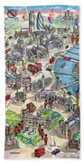 Illustrated Map Of London Bath Towel