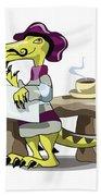 Illustration Of A Raptor Poet Thinking Bath Towel