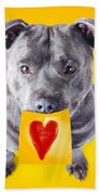 Imploring Staffie With A Sticky Note On His Mouth Bath Towel