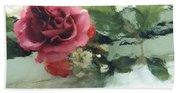 Impressionistic Watercolor Roses, Romantic Watercolor Pink Rose  Hand Towel