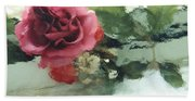 Impressionistic Watercolor Roses, Romantic Watercolor Pink Rose  Bath Towel
